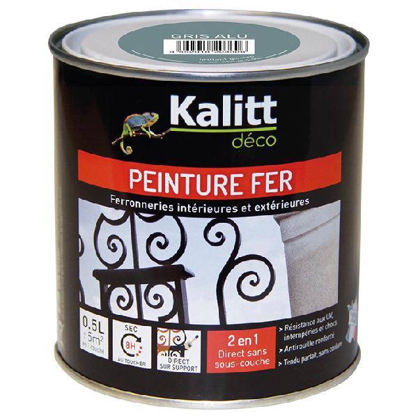 Peinture antirouille KALITT fer brillant gris alu 0,5L