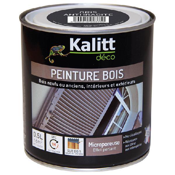 Peinture bois KALITT satinée gris anthracite 0,5L