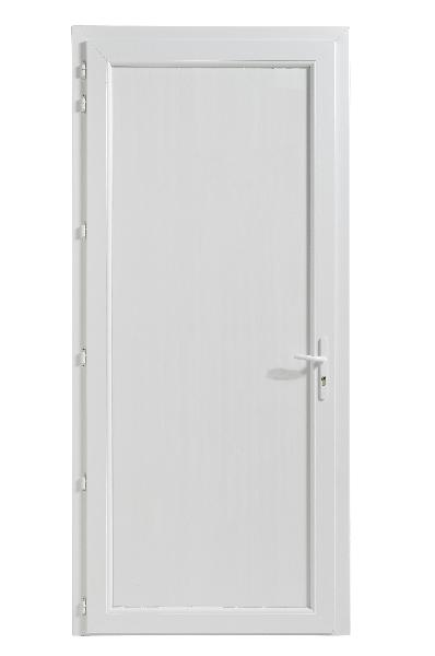 Porte de service PVC blanche 200x90 GP dormant 60 seuil alu