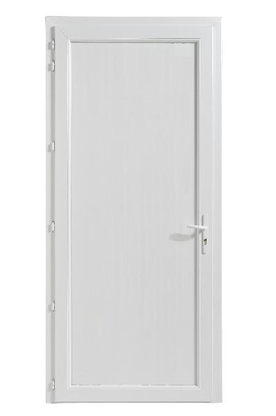 Porte de service PVC blanche 200x90 DP dormant 60 seuil alu