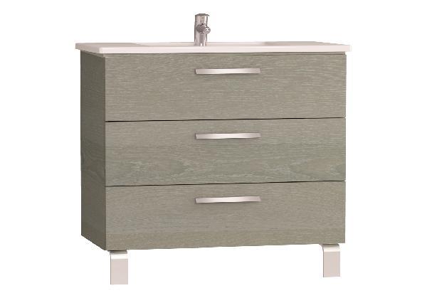 Meuble salle de bain INTEGRA 3 tiroirs chêne gris 90x77,5x48,5cm