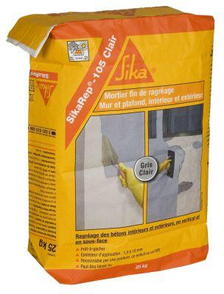 Mortier ragréage mural SIKAREP 105 CLAIR HYDROFUGE gris clair sac 25kg