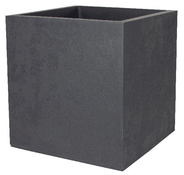 Pot carré BASALT anthracite décor béton 49,5x49,5cm H.49,5cm