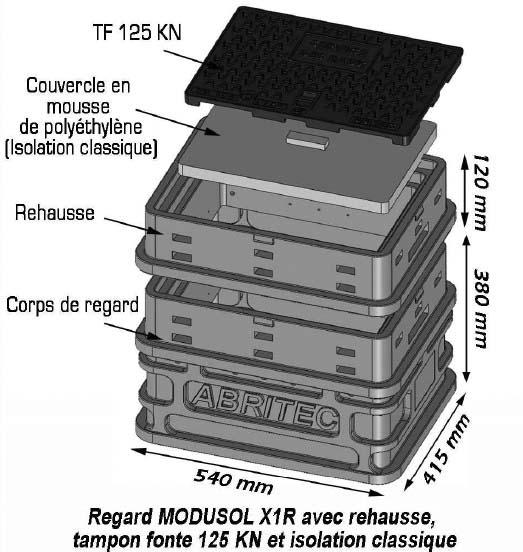 Regard MODUSOL-X2 1xØ32-2xØ25 2xDn15 H.720mm B125