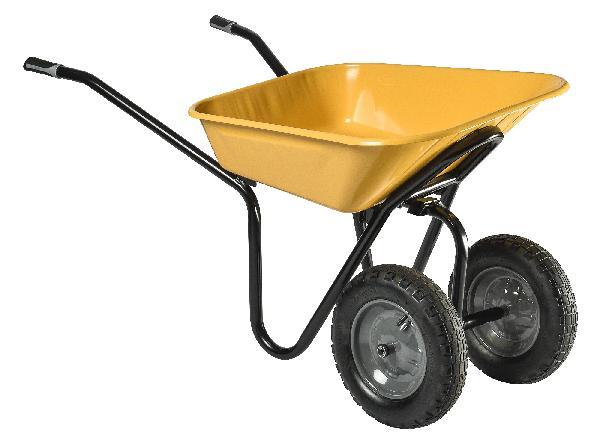Brouette à déversement latéral 100L REVERSO roue gonflée métal jaune