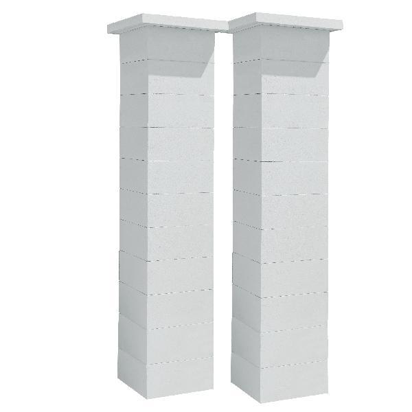 Kit 2 piliers STEEL'IN LIGHT blanc cassé sans insert 39x39x188cm