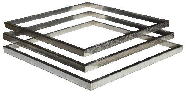 Kit 3 inserts aspect cuir PLATINUM/STEEL'IN inox 39x39cm