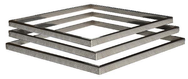 Kit 3 inserts aspect damier PLATINUM/STEEL'IN inox 39x39cm