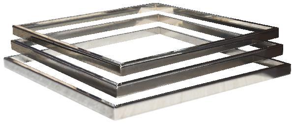 Kit 3 inserts lisse PLATINUM/STEEL'IN inox 39x39cm