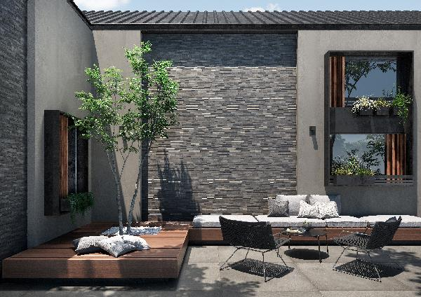Carrelage terrasse LOFT dark rectifié 80x80cm Ep.8,5mm