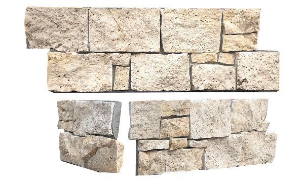 Parement angle travertin sur ciment CHATEAU 20x60cm Ep.40-50mm beige
