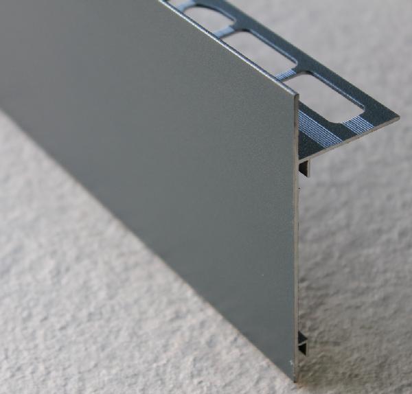 Profilé finition terrasse alu sablé gris anthracite H.62mm Ep.21mm