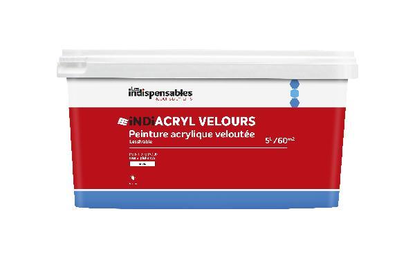 Peinture acrylique velours LES INDISPENSABLES blanc bidon 5L