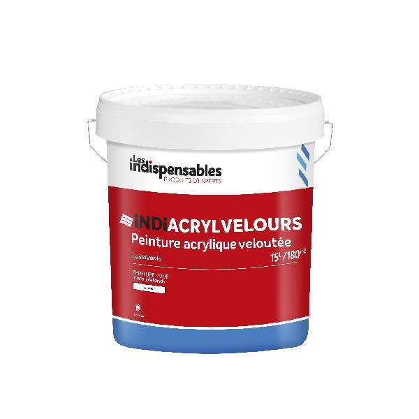 Peinture acrylique velours LES INDISPENSABLES blanc bidon 15L