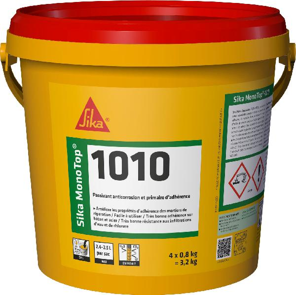 Mortier anticorrosion SIKA MONOTOP 1010 gris seau 4x0,8kg