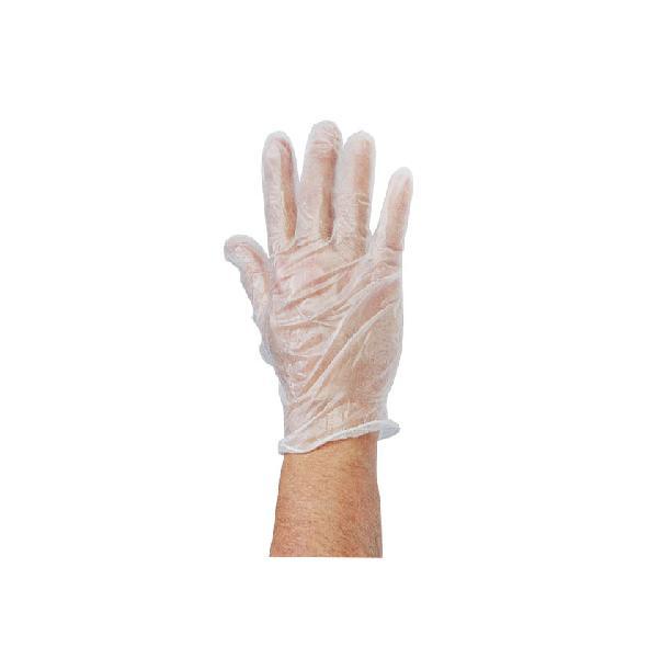 Gant jetable vinyle S721040BL blanc non poudré T.M boite carton 100