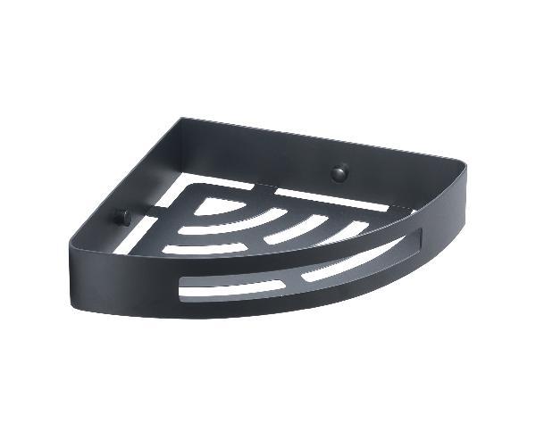 Panier à fixer douche angle NERVA 21x21 noir acier inoxydable