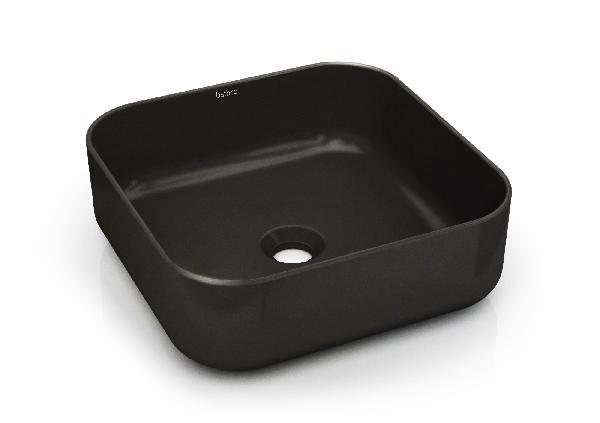 Vasque à poser MALEVITCH 38,5x38,5x13,5cm céramique noir mat carrée