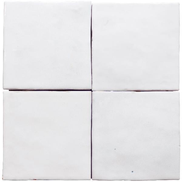 Faïence ZELIJ blanco brillant 10x10cm Ep.10mm