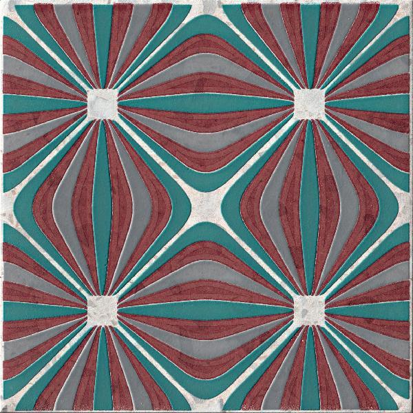 Carrelage décor VENEZIA griccia lampone 20x20cm Ep.10mm