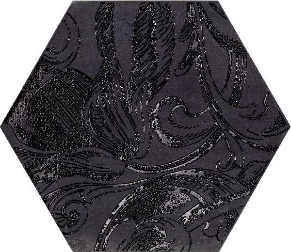 Carrelage décor FUORITONO fuoridamasco nero satiné 24x27,7cm Ep.10,5mm