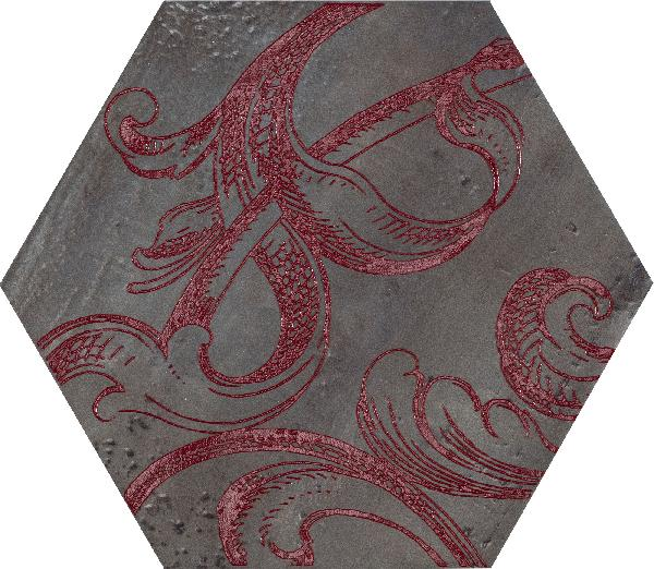 Carrelage décor FUORITONO fuoridamasc rosso satiné 24x27,7cm Ep.10,5mm
