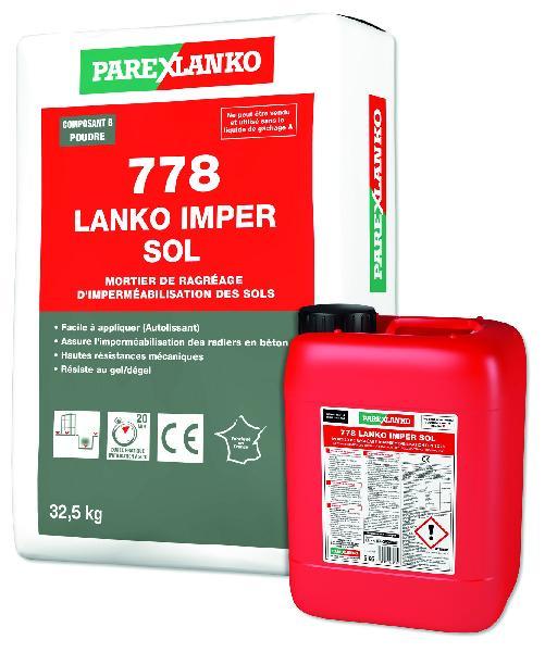 Mortier ragréage imperméabilisation 778 LANKOIMPER SOL kit 37.5kg