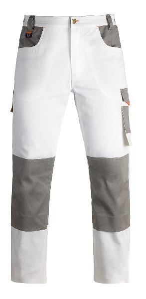 Pantalon élastique INDUSTRY blanc/gris T.M pour bâtiment