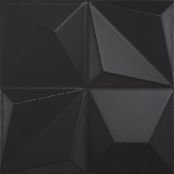 Faïence décor SHAPES multishapes black 25x25cm Ep.9mm