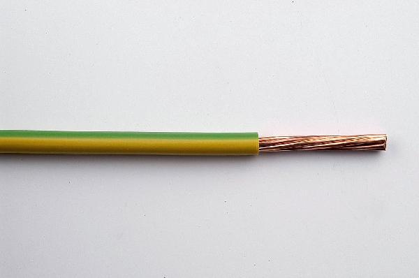 Fil rigide HO7V-U 6mm² vert/jaune bobinot 10m