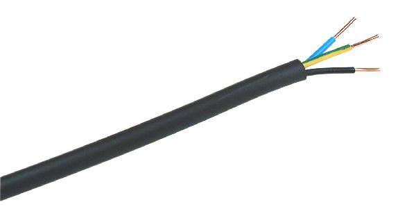 Câble industriel rigide U1000 RO2V 3 G 1,5mm² noir au mètre