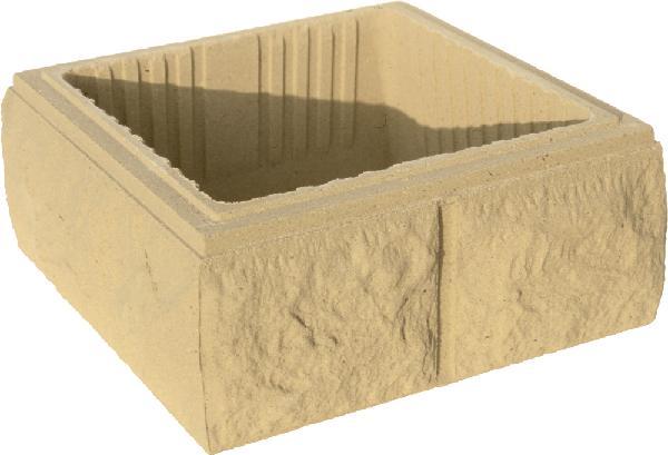 Elément pilier béton BOSSELE ton pierre 30x30x16,7cm