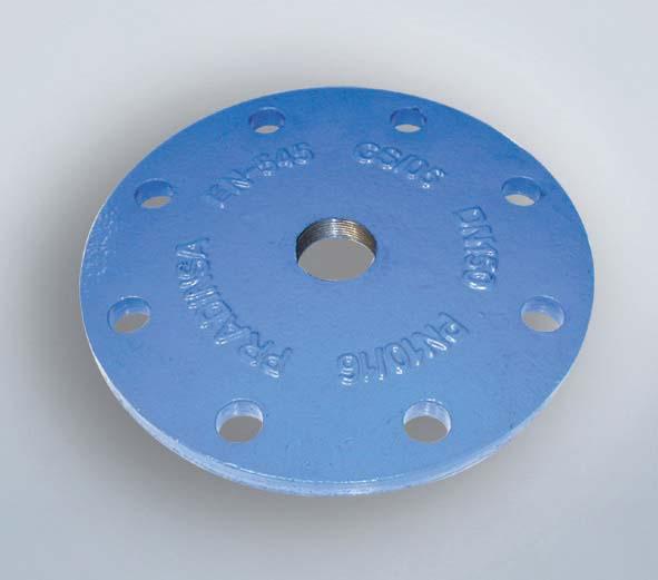 Plaque fonte DN080 taraudage 33/42 ISO PN10-PN40