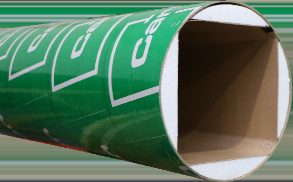 Tube coffrage carton carré angles chanfreinés 400x400mm 4m