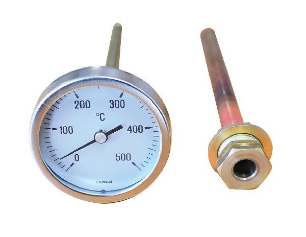 Thermomètre 0 à 500°c à cadran pour four à bois