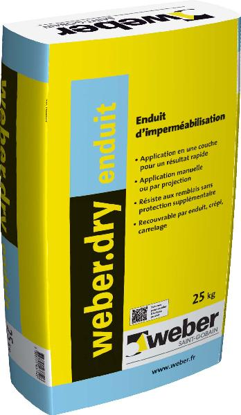 Mortier imperméabilisation WEBERDRY ENDUIT sac 25kg