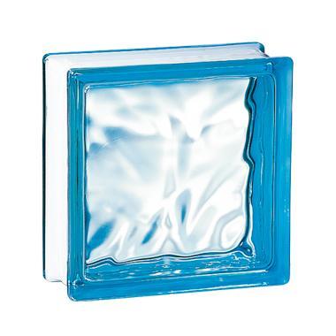 Brique de verre 198 nuagée bleue 19x19x8cm