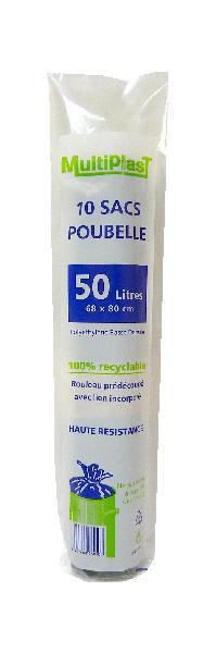 Sacs poubelle gris 50L rouleau 10