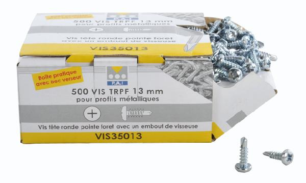 Vis plaque de plâtre TRPF Ø3,5x13mm boite 500