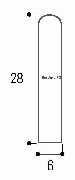 Bordure béton P2 grise classe U+D 1m