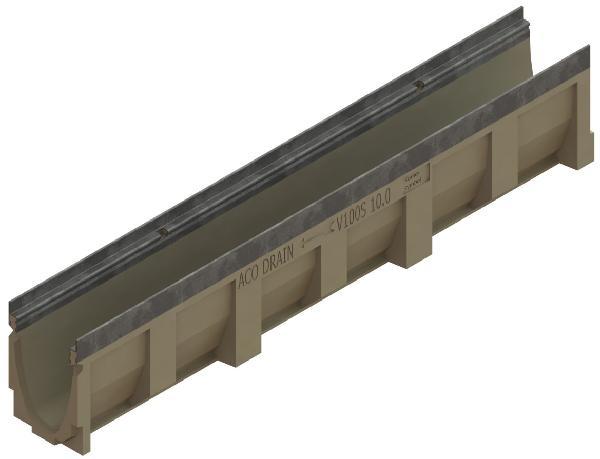 Caniveau béton polymère N° 10 MULTIDRAIN 100 1m sans grille