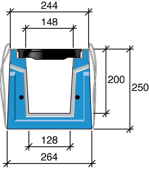 Caniveau béton HRI 200 L244xH250 +2 grilles fonte D400 0,75m