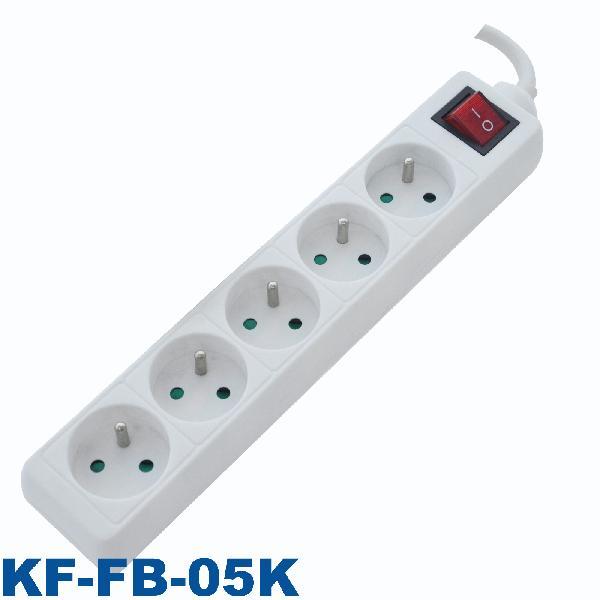 Bloc 5 prises avec interrupteur 2P+T avec interrupteur blanc