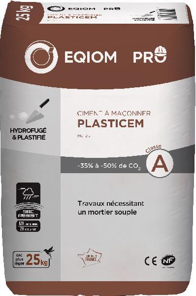 Ciment PLASTICEM à maçonner MC 12,5 CE+NF sac 25kg