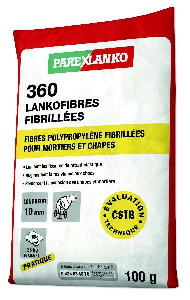 Fibre polypropylène pour chapes 360 LANKOFIBRES sachet 100g