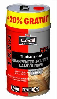 Traitement charpentes-poutres intérieur TX202 bidon 25L+20%L
