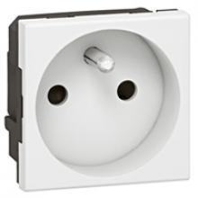 Prise de courant 2P+T simple MOSAIC composable blanc