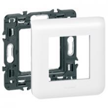 Support à vis + plaque de finition 2 modules MOSAIC composable blanc
