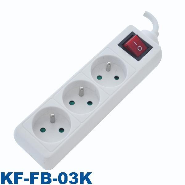 Bloc 3 prises 2P+T avec interrupteur blanc