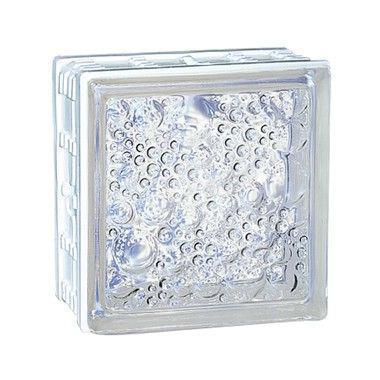 Brique de verre CUBIVER 2 bullée incolore 19,8x19,8x8cm
